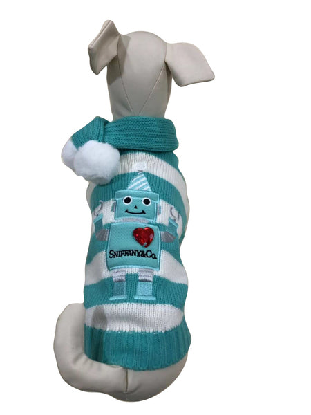 SNIFFANY ROBOT SWEATER WITH POMPOM SCARF