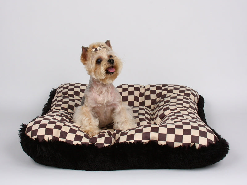 SQUARE WINDSOR BIG CHECKERED BED WITH BLACK SHAG, Beds - Bones Bizzness