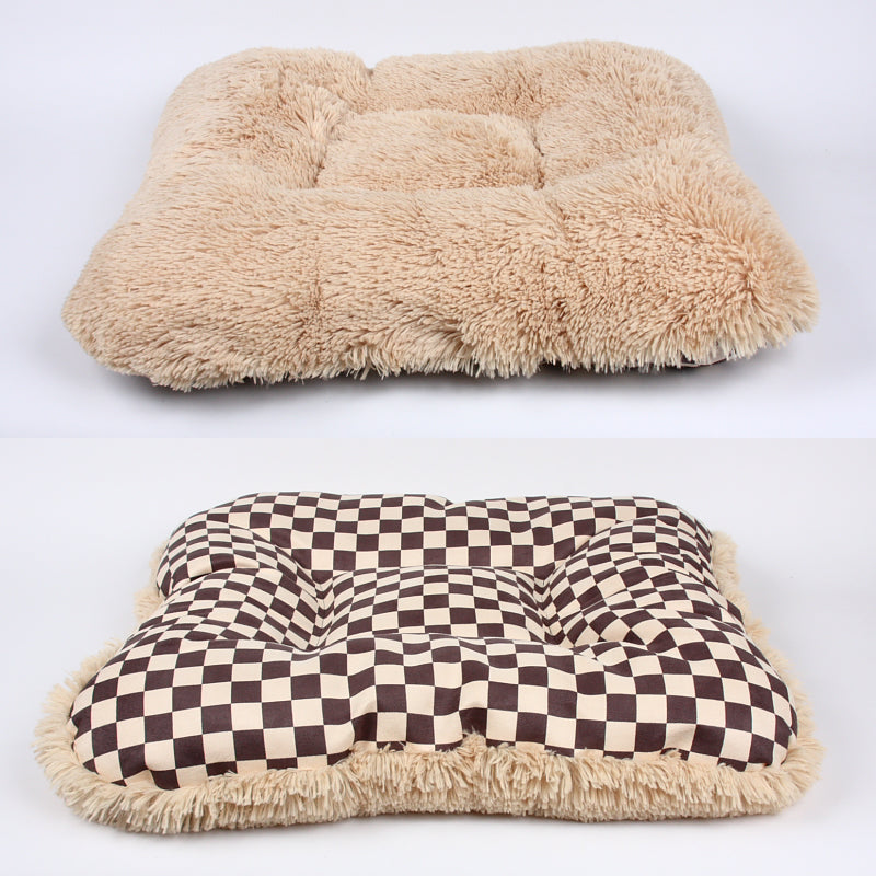 SQUARE WINDSOR BIG CHECKERED BED WITH CAMEL SHAG, Beds - Bones Bizzness