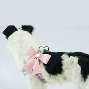 SCOTTY PLAID TAIL BOW STEP-IN HARNESS- PUPPY PINK, Harness - Bones Bizzness