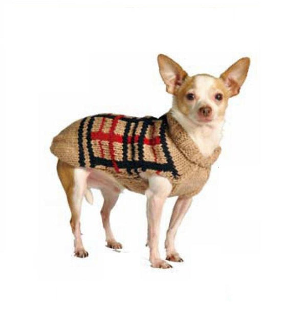 TAN PLAID DOG SWEATER, Sweaters - Bones Bizzness