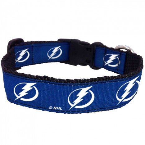TAMPA BAY LIGHTNING DOG COLLAR- RIBBON, NHL - Bones Bizzness