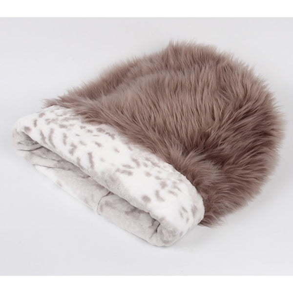 CUDDLE CUP DOG BED -TAUPE WITH PLATINUM SNOW LEOPARD, Beds - Bones Bizzness