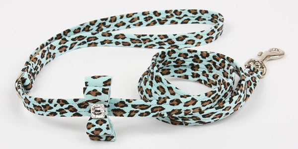 TIFFI CHEETAH COUTURE BIG BOW DOG LEASH, Leash - Bones Bizzness