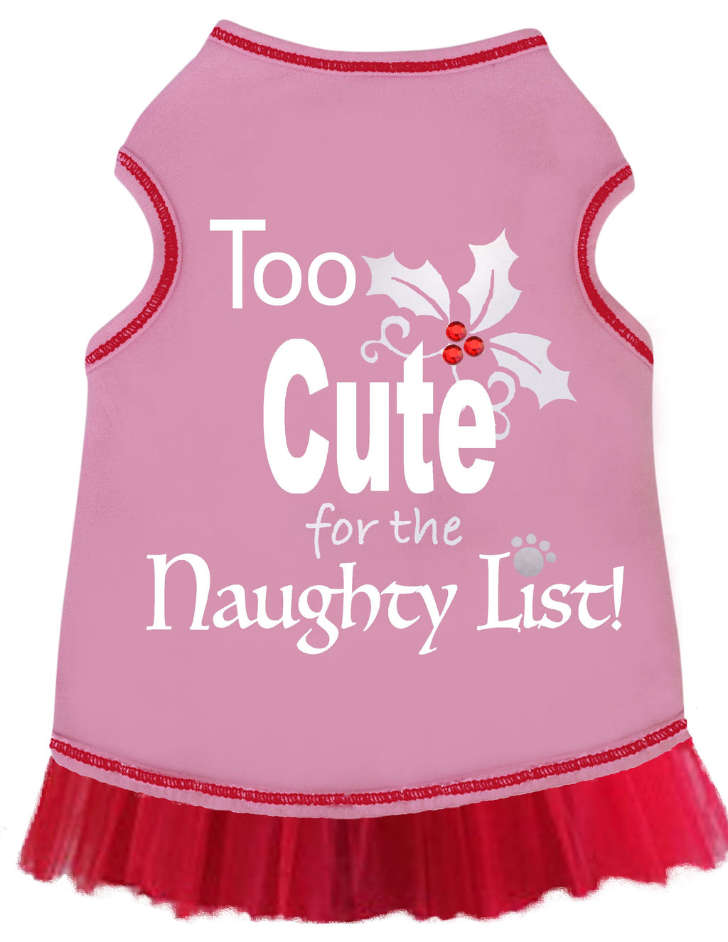 TOO CUTE FOR NAUGHTY LIST DOG TANK - PINK, Shirts Tanks & Tees - Bones Bizzness