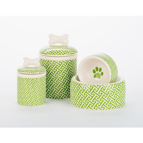 TRELLIS COLLECTION DOG BOWLS & TREAT JAR, Bowls - Bones Bizzness