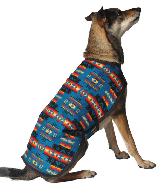 TURQUOISE SOUTHWEST BLANKET COAT DOG SWEATER, Sweaters - Bones Bizzness
