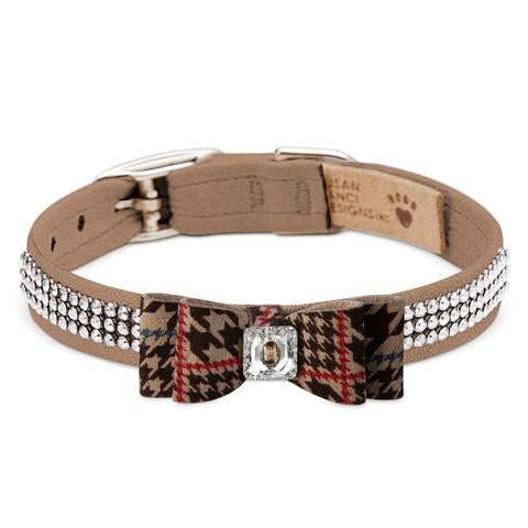 SUSAN LANCI CHOCOLATE GLEN HOUNDSTOOTH BIG BOW 3 ROW GILTMORE DOG COLLAR