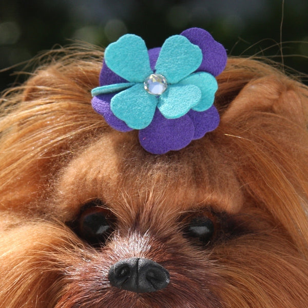 VIOLET TINKIES SWAROVSKI TWO-TONE DOG HAIR BOW, HAIR BOW - Bones Bizzness