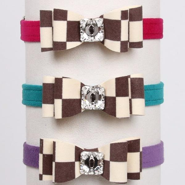 "WINDSOR CHECKERED DOG COLLARS 1/2"" W/ REALLY BIG BOW, Collars - Bones Bizzness"