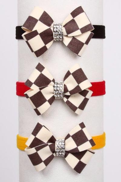 "WINDSOR CHECKERED DOG COLLARS 1/2"" W/ NOUVEAU BIG BOW, Collars - Bones Bizzness"