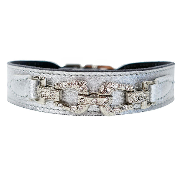 AFTER EIGHT SILVER METALLIC DOG COLLAR, Collars - Bones Bizzness