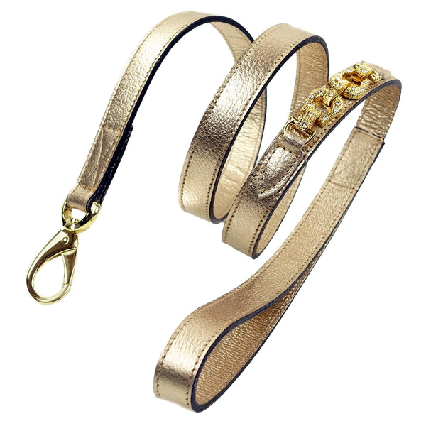 AFTER EIGHT METALLIC GOLD DOG LEAD, Leash - Bones Bizzness