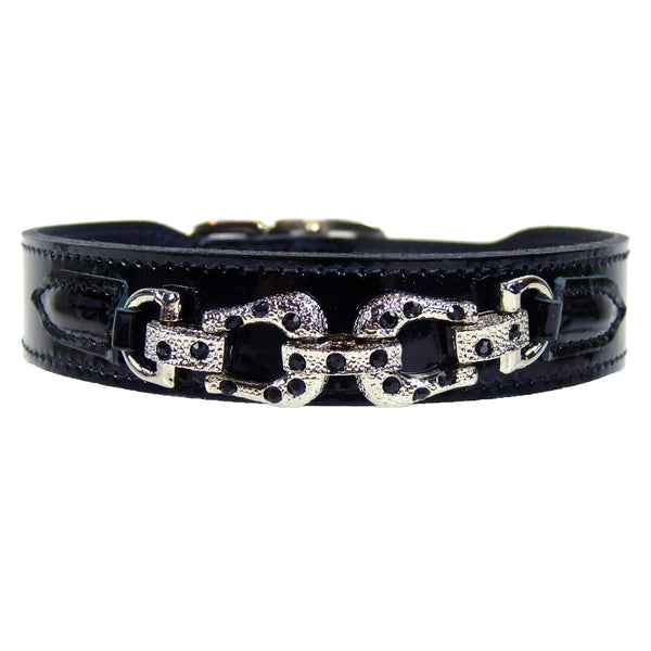 AFTER EIGHT NOIR PATENT DOG COLLAR, Collars - Bones Bizzness