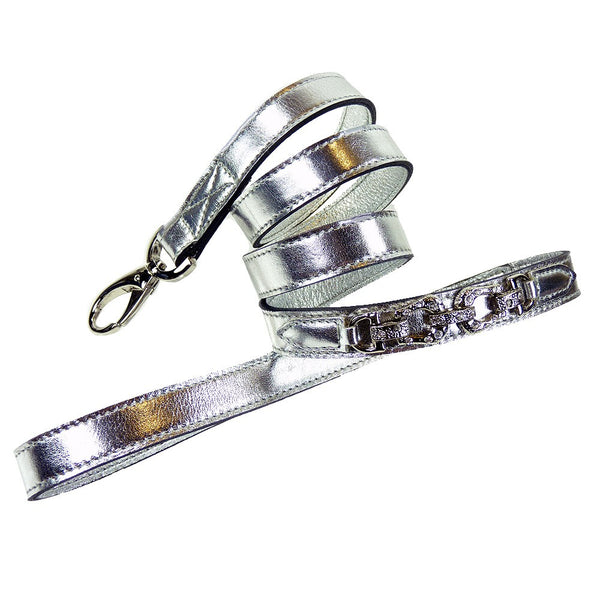 AFTER EIGHT SILVER METALLIC DOG LEAD, Leash - Bones Bizzness