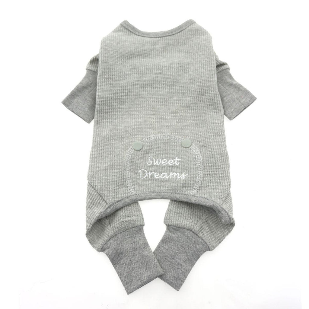 GREY SWEET DREAMS THERMAL DOG PAJAMAS, PAJAMAS - Bones Bizzness