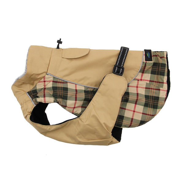 ALPINE ALL WEATHER DOG COAT BEIGE PLAID, Coats - Bones Bizzness
