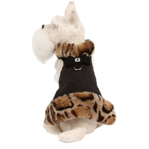 ANGORA LEOPARD/BLACK BOW LEOPARD FUR DOG JACKET, Coats - Bones Bizzness