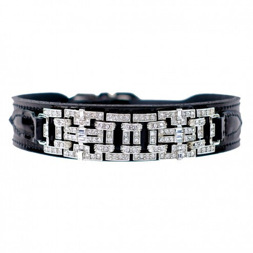HAUTE COUTURE ART DECO IN BLACK PATENT & NICKEL DOG COLLAR, Collars - Bones Bizzness