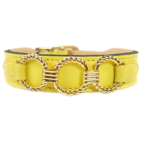 ATHENA IN CANARY YELLOW & GOLD DOG COLLAR, Collars - Bones Bizzness