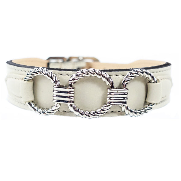 ATHENA IN EGGSHELL & NICKEL DOG COLLAR, Collars - Bones Bizzness