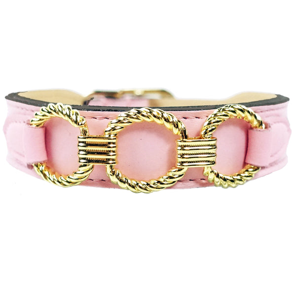 ATHENA IN SWEET PEA & GOLD DOG COLLAR, Collars - Bones Bizzness