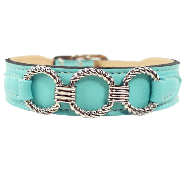 ATHENA IN TURQUOISE & NICKEL DOG COLLAR, Collars - Bones Bizzness