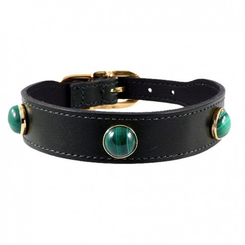 AU NATURALE IN HUNTER GREEN DOG COLLAR