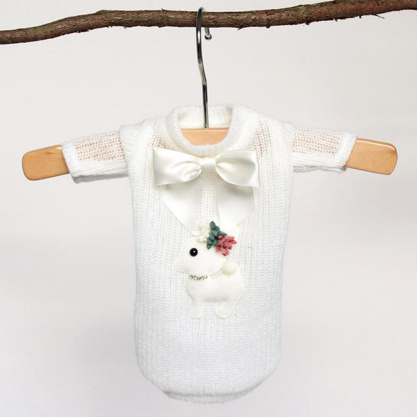 BABY DEER DOG SWEATER-CREAM