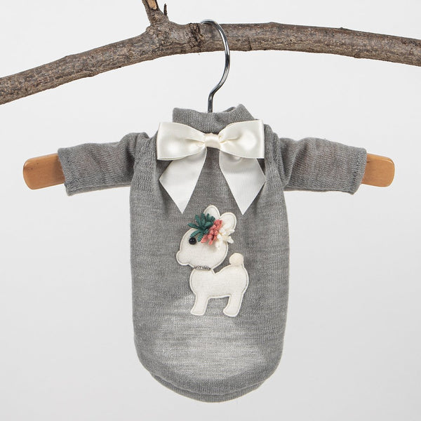 BABY DEER DOG SWEATER-GREY