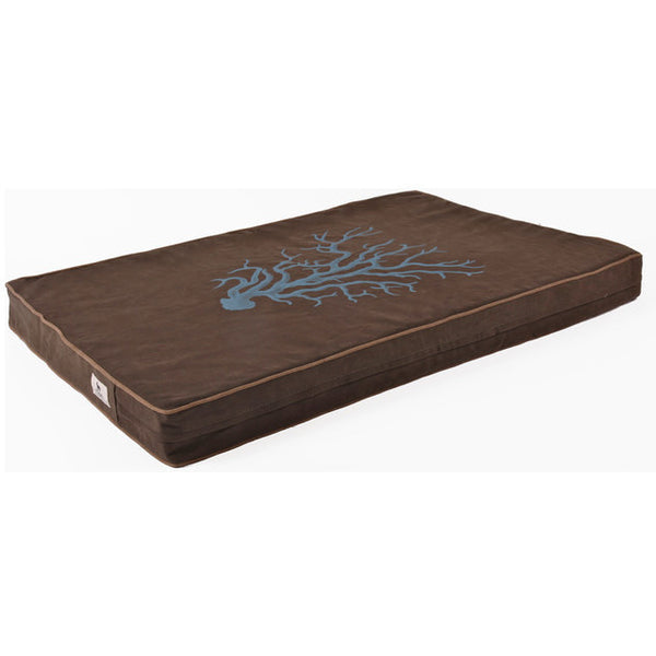 "ECO-FRIENDLY DOG MAT/BED ""CORAL ON BLACK OLIVE IN SLATE"", Beds - Bones Bizzness"