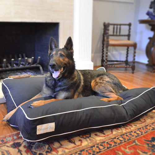 SOLID BLACK WHITE TRIM DOG BED, Beds - Bones Bizzness