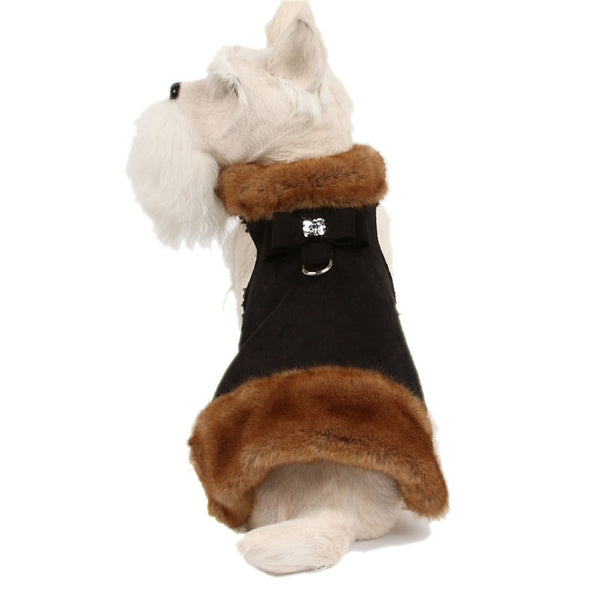 MINK BIG BOW CRYSTAL FUR DOG COAT- BLACK, Coats - Bones Bizzness