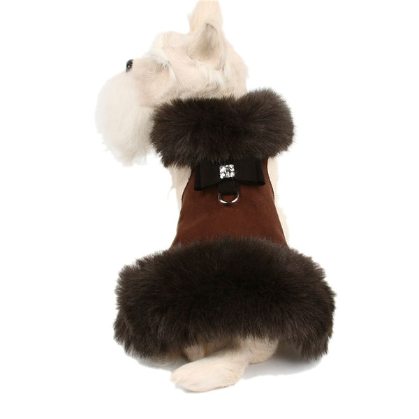 CHOCOLATE FOX FUR HARNESS DOG COAT W/BLACK BOW, Coats - Bones Bizzness