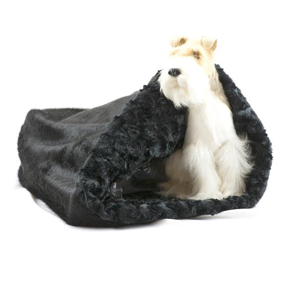CUDDLE CUP DOG BED - BLACK CURLY SUE, Beds - Bones Bizzness