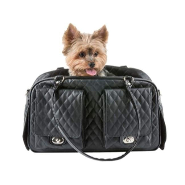 CAVIAR QUILTED MARLEE DOG BAG - BLACK