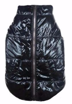 METALLIC PUFFER DOG COAT BLACK, Coats - Bones Bizzness