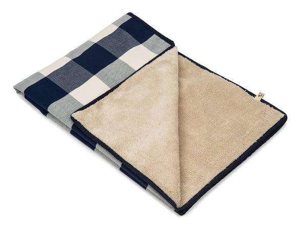 NAVY BUFFALO CHECK LUXURY DOG BLANKET, Blanket - Bones Bizzness