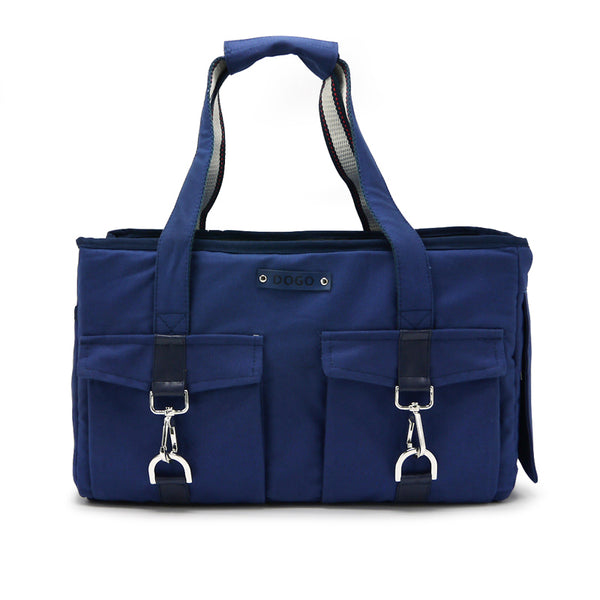 NAVY BUCKLE TOTE BB DOG CARRIER, Carriers - Bones Bizzness