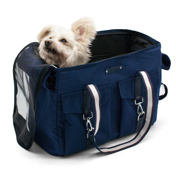 NAVY BUCKLE TOTE V2 DOG CARRIER, Carriers - Bones Bizzness