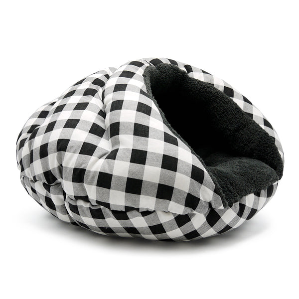 CHECKERS BLACK BURGER DOG BED, Beds - Bones Bizzness