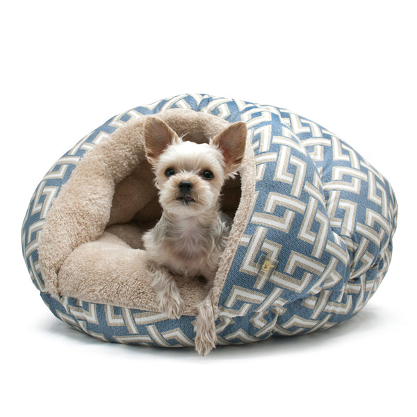 BLUE GEOMETRIC ELEPHANT BURGER DOG BED, Beds - Bones Bizzness