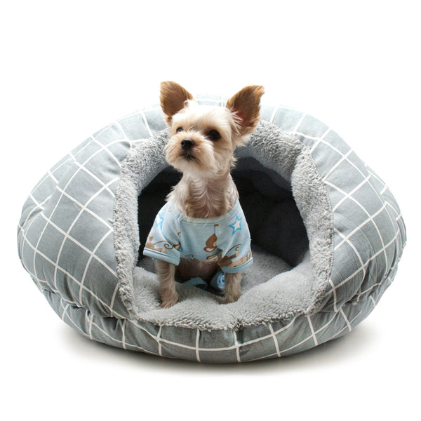 GREY LATTICE BURGER DOG BED, Beds - Bones Bizzness