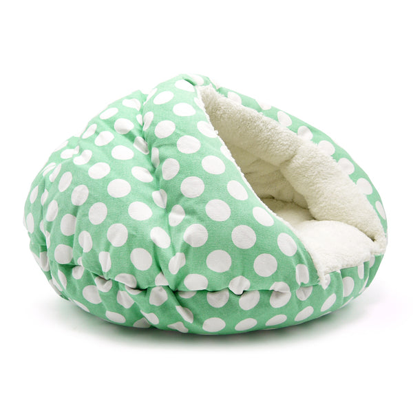 POLKA DOT GREEN BURGER DOG BED, Beds - Bones Bizzness