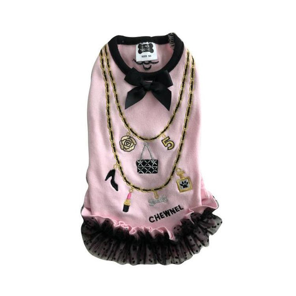 CHEWNEL CHARMS RUFFLE DOG DRESS - PINK