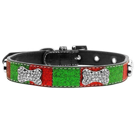 CHRISTMAS ICE CREAM CRYSTAL BONE DOG COLLAR, Collars - Bones Bizzness