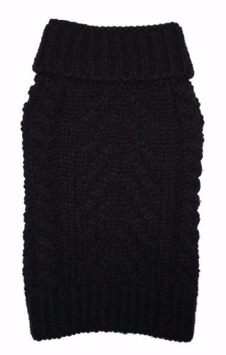BLACK SUPER CHUNKY DOG SWEATER, Sweaters - Bones Bizzness