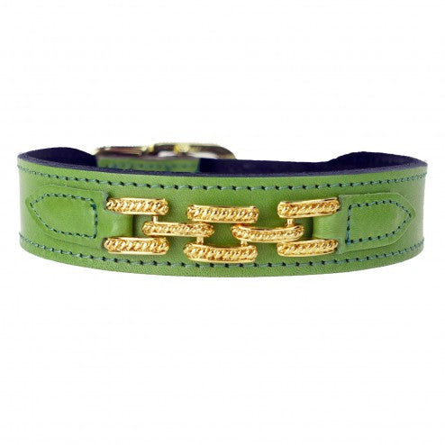 COLONY CLUB IN LIME GREEN DOG COLLAR, Collars - Bones Bizzness