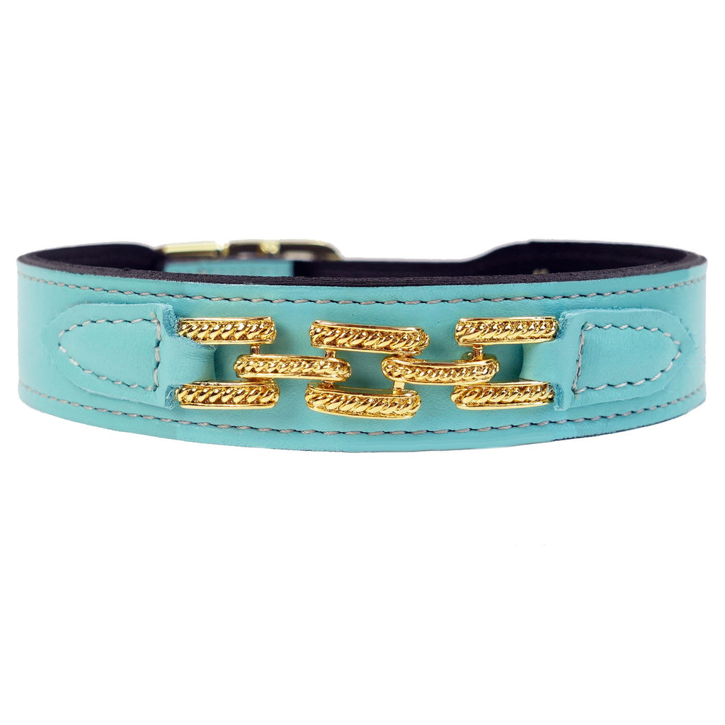 COLONY CLUB IN SOFT TURQUOISE DOG COLLAR, Collars - Bones Bizzness