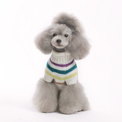 COLORFUL STRIPE DOG SWEATER BLUE, Sweaters - Bones Bizzness